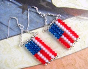 Flag Earrings, Swarovski Earrings, Fourth of July Earrings, Patriotic Earrings, Red Earrings, Blue Earrings, Patriotic Jewelry, Holiday