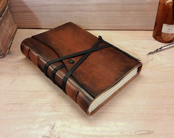 Leather Journal or Notebook, Brown Antiqued Leather - Leather Diary - The Traveler