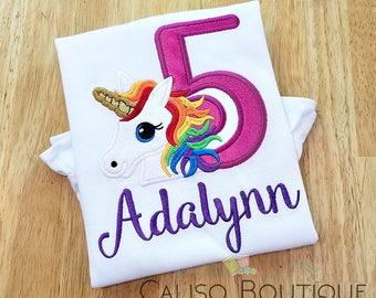 Unicorn Rainbow Birthday Shirt - Girls Unicorn Birthday Shirt - Unicorn Birthday Shirt - Unicorn Shirt - Girls Birthday Shirt With Name