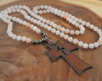Bohemian Rustic Cross Necklace, Hand Knotted Necklace, Pink Aventurine, Bohemian Jewelry, Cross Necklace, Long Beaded Necklace, Metal Cross