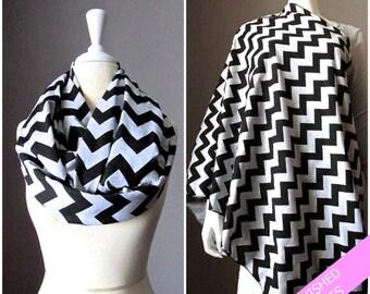 Nursing cover, nursing scarf, grey infinity scarf, nursing infinity scarf, breastfeeding cover, Chevron scarf, Grey scarf