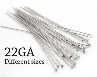 50pcs Sterling Silver 925 Head Pins Flat Head, Nail Head Pin, 0.6mm, 22 Gauge,  Jewelry Earrings Supplies Headpins, Silver Supplies