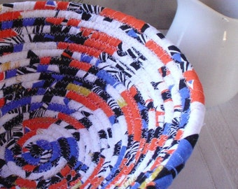 Coiled Fabric Basket - Figaro - Bright Orange, Blue, Bold and Colorful, Fabric Bowl Handmade by Me