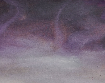 ACEO original painting purple storm clouds winter landscape artists trading card ATC modern miniature artwork, Storm by Robert McConvey