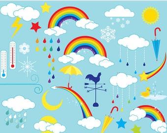 Rainbows clipart - weather clip art rainbow clouds rain sun lightning wind raindrops umbrella stars duck snowflake personal commercial use