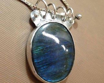 Labradorite and silver necklace Oval Labradorite  necklace
