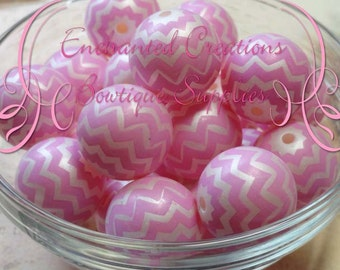20mm Pink and White Chevron Stripe Pearl Beads Qty 10