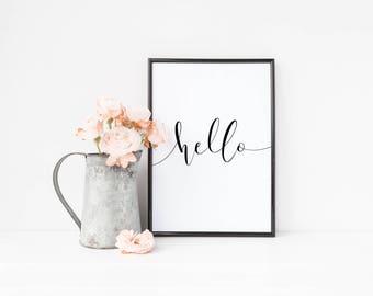 DIGITAL DOWNLOAD + Hello + Printable art