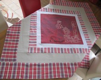 Patchwork kelsch linen square tablecloth