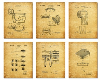 Bathroom Patent Prints - Set of Six 8 X 10 Photos