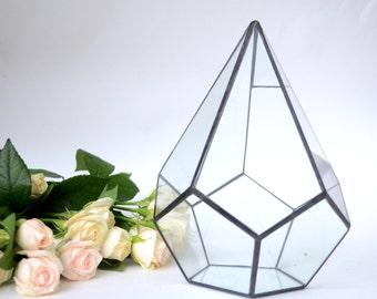 Drip-Dodecahedron / Modern Wedding table Decor / Geometric Glass Terrarium / Stained Glass Terrarium / Handmade Glass Terrarium