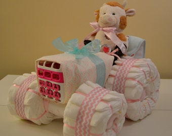Diaper Tractor Unique Baby Shower Centerpiece For Girls, Boys, or Gender Neutral  4 Wheel Tractor Assembled as One Piece Twin Diaper Tractor
