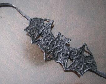 Black Lace Bat Headband