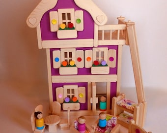"""Wooden Peg Doll House, Wood Toy Dollhouse Furniture, Handmade Waldorf Kids Birthday gift, Jacobs Wooden Toys """"MAGENTA BLOSSOM"""""""
