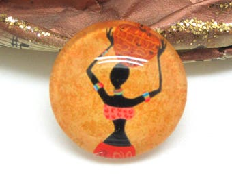 2 cabochons 20 mm glass 3-20 mm African style