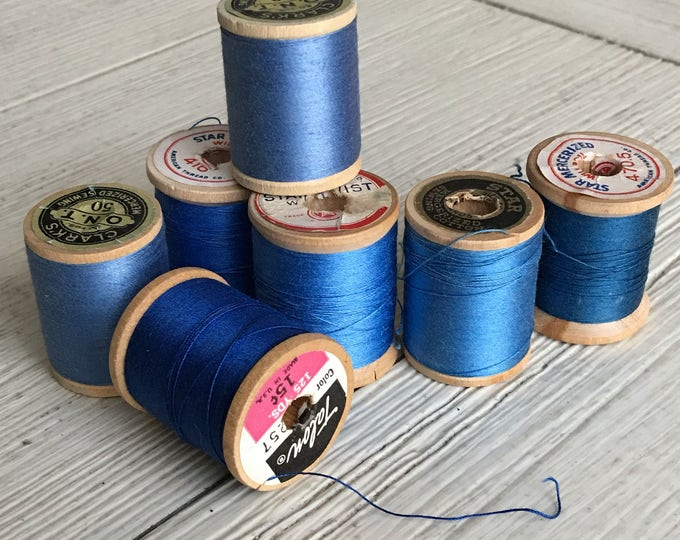 Vintage Wooden Spools Hues of Blue Thread Lot