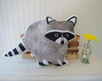 Raccoon Pillow Plush Soft Toy Woodland Nursery Decor