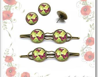 Hair clips + studs butterflies in summer jewelryset sho-C16-003