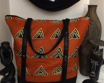 Tribal Print Totebag/Large Tote/African Fabric/Afrocentric Style