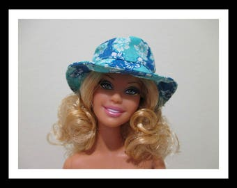 barbie doll size cotton blue flowery beach hat