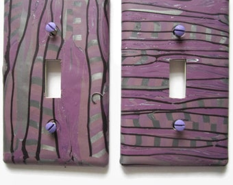 Light Switch Cover, Single Switch Plate, Toggle Switchplate, Plum and Silver with Black Stripes