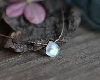 Tiny Rainbow Moonstone Necklace, Silk Thread, 925 Silver, June Birthstone, Natural Gemstone, Handmade Jewelry