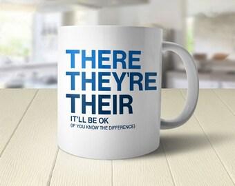English Teacher Gift for Writer, Grammar Mug, funny cup, nerdy mug, writer gift for her, English teacher mug, funny coffee mug with saying