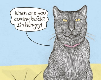 Cats 'I Miss You' Postcard featuring Rafi and Spageti, the famous Israeli cats from Ha'aretz Newspaper Comics