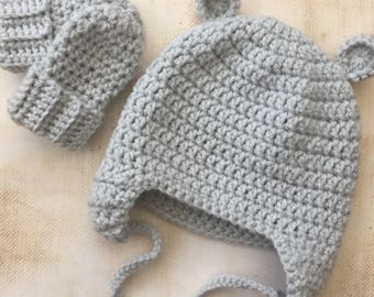Bear ear crocheted hat newborn baby or toddler size crochet wool hat for girls or boys any colour new baby gift baby shower photography prop