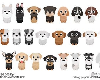 Sitting puppies digital clip art for Personal and Commercial use - INSTANT DOWNLOAD