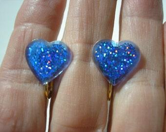 "Play Earring - Clip - Glitter Heart - Blue - 1/2"""