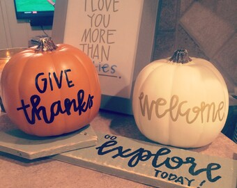 "Custom lettered 6"" foam pumpkin (max 3 words!)"