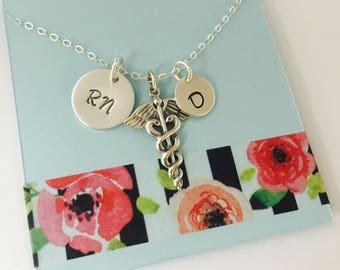 Sterling Silver Nurse Necklace, RN Necklace, Silver RN Necklace, Personalized RN Necklace
