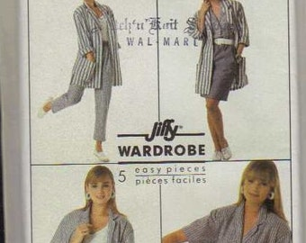 Vintage - Simplicity Pattern 8479 Misses' Pull-on Pants, Shorts, Skirt, Loose-Fitting Shirt and Unlined Jacket