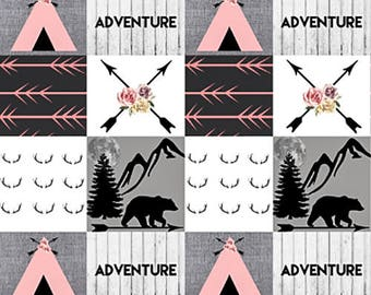 Tribal Baby Quilt Tepee Minky Baby Blanket Baby Girl Quilt Woodland Baby Quilt Patchwork Girl Quilt Pink Grey Gray Arrow Mountain Adventure