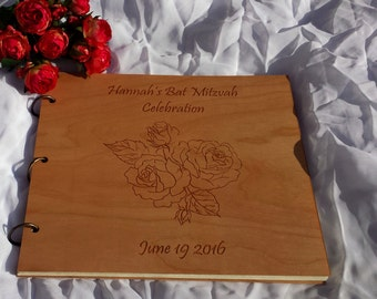 Photo Album Wood Engraved /Custom Wedding Guest Book Wood /Wood Cover Gift Album /Rose Design Photo Album /Wood Wedding Gift Album