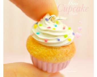 Pink Cupcake Charm Miniature Food Jewelry Handmade Charm Polymer Clay Gift Girl Sterling Silver Necklace