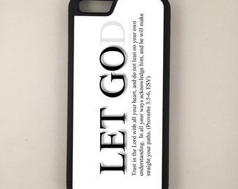 "Let God iPhone 4/4s 5/5s 5c 6 4.7"" 6 Plus 5.5"" Hybrid Rubber Protective Case Christian Faith"