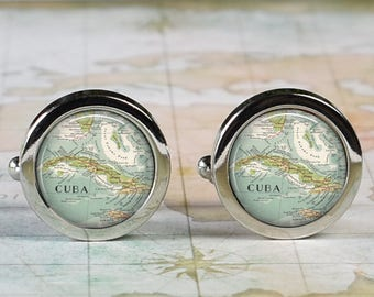Cuba cuff links,  Cuba map cufflinks wedding gift anniversary gift for groom gift for him groomsmen gift for best man Father's Day gift