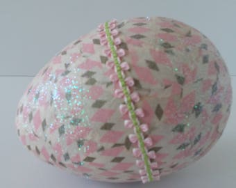 Large Easter Egg Decorated in Vintage Wrapping Paper Pink and Gold