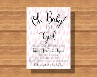 Printable Baby Shower Invitation, Rain Showers Baby Shower Invitation, Pink Rain Baby Shower Invitation, Pink Baby Shower Invitations