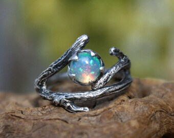 Opal ring,sterling silver branch ring,natural Ethiopian opal gemstone,twig ring,rainbow opal,October birthstone.