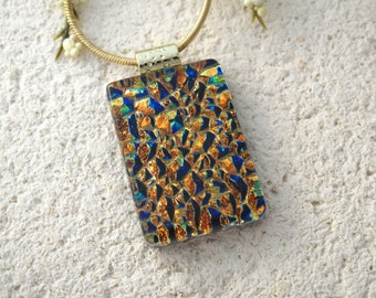Golden Rainbow Necklace, Dichroic Jewelry, Handmade OOAK, Fused Glass Jewelry, Dichroic Glass Necklace, Gold Pendant, Ccvalenzo, 061117p100