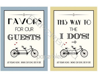 """Weddings  - Tandem  Bicycle Theme """" Favors"""" & Ceremony Signs - DIY Instant Printable Downloads - two 5x7 prints"""