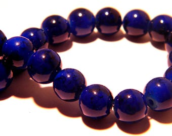20 beads - 8 mm - blue - marbled glass PG173