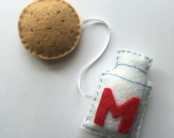 Felt Milk and Chocolate Cookie Connected Catnip Cat Toy Set, Handmade