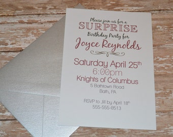 DIGITAL Surprise Birthday Invitation- Burgundy