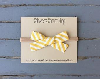 hand tied bow, baby girl bow, baby girl headband, nylon headband, baby hair bow, school girl bow, baby bow headband, infant headband