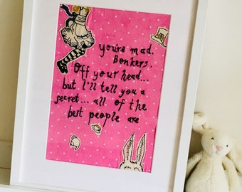 Alice in Wonderland 'Bonkers' Quote Framed - Free-motion Embroidered Quote - present gift frame