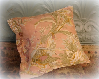 shabby chic vintage pillow . 12 inch vintage peach bird print . button close with pillow form